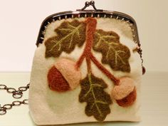 Elegant Acorn Bough wool felt purse with metal frame.. $45.00, via Etsy.