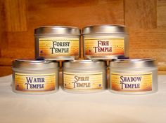 The Legend of Zelda Ocarina of Time Inspired Soy candles - scents inspired by Ocarina of Time's temples - set of five by earthtastic, $28.00 or $6.00 each.