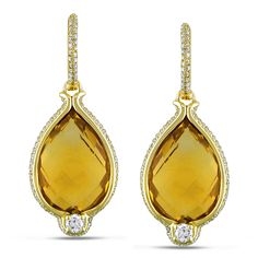 These drop earrings from the Miadora Collection feature pear-cut double checkerboard citrine stones with round diamonds set in 14-karat yellow gold. These beautiful earrings are secured with clip-in backs.