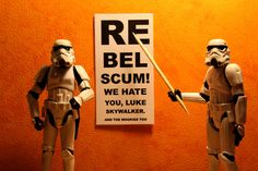 "Star Wars - Storm Troopers by Stéfan Le Dû - ""Rebel scum! We hate you, Luke Skywalker. And the wookiee too. Star Wars Fan Art, Star Wars Rebels, Storm Troopers, Luke Skywalker, Sith, Darth Vader, Taza Star Wars, Star Trek, Starwars"