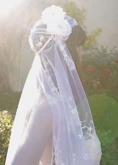 Lace Vintage Bridal Cap Veil Two Flower Bridal by LasVegasVeils, $220.00