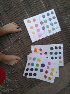 Barevna hledacka - najit v parku tyto barvy a prilepit lepitkem na vzornik