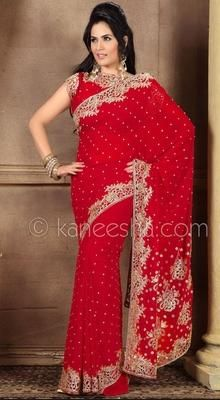 Plushy Red Embroidered Saree