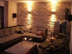 "Design apartment - make walls look like a ""stone wall""? optics) Just how? Wall in wall look – (design, craftsman, wall) Home Room Design, Home Interior Design, Living Room Tv Unit Designs, My New Room, Apartment Design, House Rooms, Home And Living, Living Room Decor, Material"