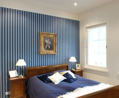 Deep #blue is said to encourage relaxation and inhibit conversation, perfect for #decorating your #bedroom. #Tikkurila