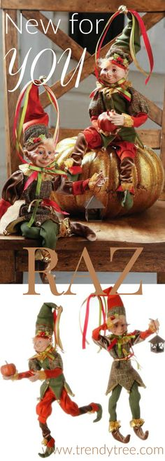 RAZ Autumn Elves - perfect whimsical item for your fall decorating.  See more at Trendy Tree