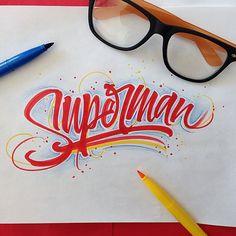 superman brushpen calligraphy david milan