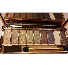 Sporthway® Women 9 Colors Waterproof Make UP Glitter Eyeshadow Palette with Brush (Color 3) -- Visit the image link more details.