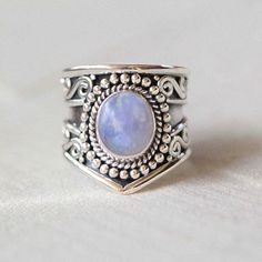 Rainbow Moonstone Ring, Boho Ring, Moon Ring, Gypsy Ring, Statement Rings, Solid 925 Sterling Silver Rings, Don Biu, Personalised, Gift