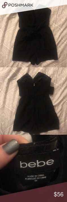 Black Bebe Romper 00 True to size, waist tie, elegant summer outfit bebe Other
