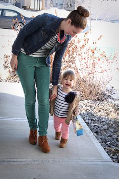 mama / daughter style: stripes and neon.