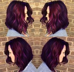 24 Long Wavy Hair Ideas That Are Freaking Hot in 2019 - Style My Hairs Hair Color Purple, Cool Hair Color, Hair Colors, Cherry Cola Hair Color, Medium Hair Styles, Curly Hair Styles, Plum Hair, Long Wavy Hair, Fall Hair