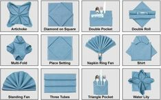Index of Napkin Folds. Animated tutorials make napery seem .- Index of Napkin Folds. Animated tutorials make napery seem easy. Index of Napkin Folds. Animated tutorials make napery seem easy. Fancy Napkin Folding, Folding Napkins, How To Fold Napkins, Folding Paper Napkins, Wedding Napkin Folding, Napkin Origami, Diy Décoration, Easy Diy, Animation Tutorial