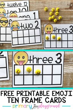 These emoji ten frame cards are a fun math center for kids to work on counting, one to one correspondence, and even decomposing numbers. Each card has the number and the number word for recognition.  #mathcenter #tenframes #kindergartenmath #emojis