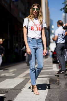 Band tees literally never go out of fashion as Veronika Heilbrunner showed at New York Fashion Week with her Runaways-inspired Cherry Bomb T-shirt tucked into blue mum jeans