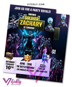 Fortnite Invitation Season Digital Files will be delivered within or less! FREE Thank you card included! Digital Invitations, Birthday Invitations, Free Thank You Cards, Text Messages, Your Cards, Birthday Parties, File Format, Seasons, Creative