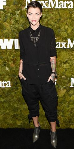 Ruby Rose brought her cool 'tude to the 2015 Women in Film Max Mara Face of the Future event with a black button-down top and cropped pants that she styled with a statement necklace and gunmetal booties.