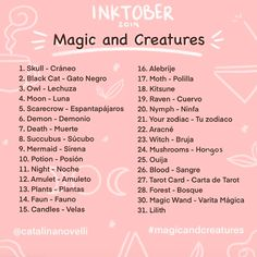"""I Made my own prompt list for inktober this year 🌿✨🙈 with the theme """"Magic and creatures"""" I hope you join 💕✨ use ✨ - EL… 30 Day Art Challenge, Art Style Challenge, Drawing Challenge, Drawing Ideas List, Drawing Tips, Inktober, Oc Creator, Drawing Male Hair, Desenhos Halloween"""