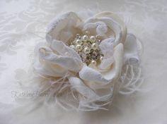 R375 Vintage Lace wrist corsage Blush by KathleenBarryJewelry