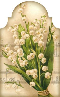 """""""Sweetest of the Flowers"""" ~ lily of the valley bouquet and music tag. Tag 3.2"""" x 5.2"""":"""
