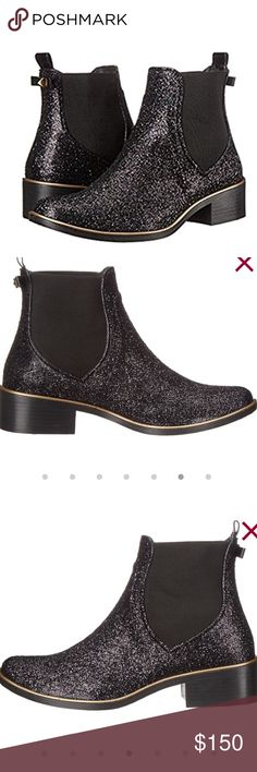 Kate Spade glitter ankle boots ❤️❤️❤️❤️ Yasss! Absolutely stunning Kate Spade glitter boots. Ankle high. Comfortable stretch material on the ankles. Easy pull on. Bow on the back. Did i mention they were black glitter! NWB! kate spade Shoes Ankle Boots & Booties