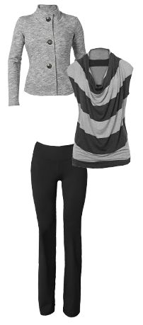 """Go from workout to out & about with #CAbi tech fabric pieces that support 360 degrees of your life! Be a """"pilates hottie"""" in the CAbi Fall 2013 Hourglass Sweatshirt, Wide Stripe Tee, and Tech Bootcut!"""