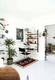 workspace, cado cadovious shelf, midcentury modern, ethnic rug, houseplants, star wars