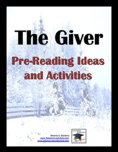 Complete collection of Pre-Reading Ideas and Activities for The Giver by Lois Lowry. $