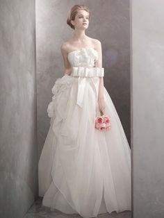 White by Vera Wang Style VW351089    Basket-Weave Organza Ball Gown    $1,498.00