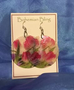 Jewelry, Earrings, Dangle or Drop Earrings,Translucent Shell Discs, Painted By Hand,Lightweight, Big Bold Style,FREE Gift Wrapping by oldredmaredesigns on Etsy