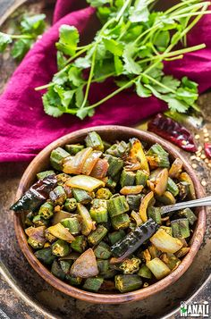 Okra cooked with lots of onions and spices. This bhindi do pyaza is a simple Indian sabzi which is best enjoyed with plain roti. Good Healthy Recipes, Delicious Vegan Recipes, Vegetarian Recipes, Healthy Treats, Healthy Food, Indian Appetizers, Vegan Appetizers, Clean Eating Recipes, Healthy Eating