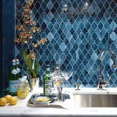 lovely moroccan tile backsplash ideas blue arabesque tiles home bar decor ideas.ie for more ideas using moroccan tiles. Moroccan Tile Backsplash, Herringbone Backsplash, Backsplash Ideas, Backsplash Tile, Tile Ideas, Moroccan Kitchen Tiles, Tiling, Backsplash Wallpaper, Decorative Tile Backsplash