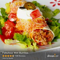Fabulous Wet Burritos | Once again, it's all about the sauce. Add some salsa, guac, and sour cream to this and enjoy.