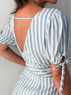 Vestido-Listrado-Vilma Best Casual Outfits, 30 Outfits, Casual Summer Dresses, Chic Outfits, Short Dresses, Fashion Drawing Dresses, Fashion Dresses, Short Frocks, Curvy Girl Fashion
