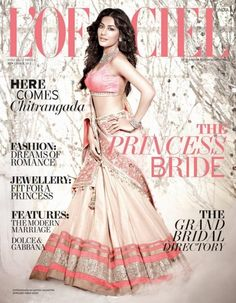 Chitrangada Singh on cover of L'Officiel Nov 2012 in Manish Malhotra lengha