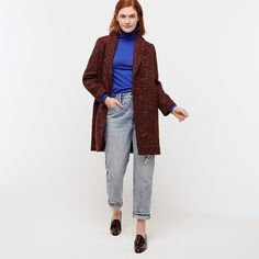 Crew for the Tall Daphne topcoat in Italian tweed for Women. Find the best selection of Women Outerwear available in-stores and online. Tweed, Crew Clothing, Acrylic Wool, Outerwear Women, Top Coat, J Crew, Normcore, Jackets, Clothes