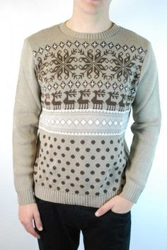 Men's brown reindeer retro 80s Christmas jumper