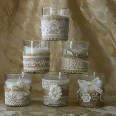 Vintage IVORY lace wedding tea candles, Victorian wedding centerpiece, Indian wedding decor, French Country wedding vase, Vintage wedding,