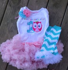 Pink and aqua chevron owl birthday outfit 1st by CEBowtique, $48.00