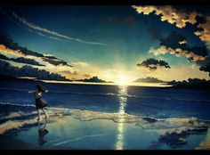 The sky, the water, the sand, the sun and that girl... I hope that I can found this beautiful  pic in the real life