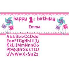 Turning One Girl 2 0x 60 Inch Giant Party Banner with Stickers/Case of 6