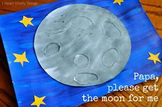 My little girl has been enjoying this Eric Carle book this week so we decided to create some art to go along with it.  Papa, please get the moon for me by Eric Carle Monica wants the moon to play with, so her Papa sets out to get it for her. It isn't easy …
