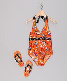 This Orange Flower One-Piece & Flip-Flops - Girls by Jump'N Splash is perfect! #zulilyfinds