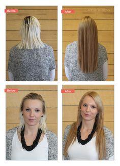 Før/efter billede af an super fin hårfarvning + påsætning af hair extensions. Lavet hos Myextensions i Aalborg. Find selv dine hair extensions på vores hjemmeside www.myextensions.dk. Vi har et kæmpe udvalg af flere forskellige metoder.