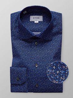 Blue Floral Poplin Shirt