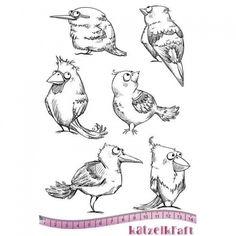 Katzelkraft Unmounted Rubber Stamp Set - Les Piafs - KTZ151