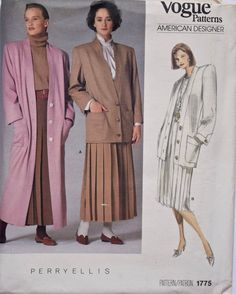 Vintage Perry Ellis Vogue 1775 Sewing Pattern Misses' Coat Jacket and Pleated Skirt American Designer UNCUT Factory Folds Size 10 Motif Vintage, Vintage Patterns, Perry Ellis, Vogue Patterns, Sewing Patterns, 80s Fashion, Vintage Fashion, Memphis, Duster Jacket