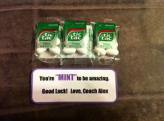 """Cheerleading competition good luck gift. """"You're MINT to be amazing"""", tic tac mints, cheer gram, candy gram, candy sayings, coaches gift, motivational gift, DIY"""