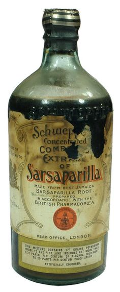 Cordial bottle embossed with Schweppes. Compound Extract of Sarsaparilla original label. c1920.