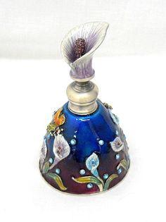 New Hand Blown Glass and Enameled Metal Calla Lily Perfume Bottle Bee Rhinestone | eBay
